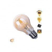 Γλόμπος LED Edison Filament Retro Μελί Globostar E27 6 Watt A60 Θερμό ντιμαριζόμενο